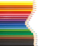 Colour pencils on white background. Colour pencils and white background royalty free stock photography