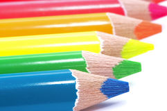 Colour pencils on white background. Close-up. Macro Stock Photography