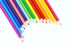 Colour pencils with white background. Colour pencils on white background stock photo