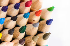 Colour pencils on white background - can use for background Stock Photography