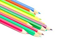 Colour pencils on white background close up Royalty Free Stock Photography