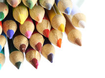 Colour pencils on white background close up Royalty Free Stock Photos