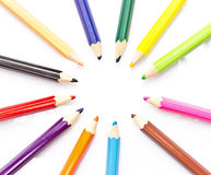 Colour pencils on white background. Close up stock image