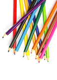 Colour pencils on white background. Close up royalty free stock images