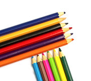 Colour pencils on white background. Close up stock photography