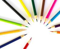 Colour pencils on white background. Close up royalty free stock photos