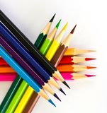 Colour pencils on white background Royalty Free Stock Photos
