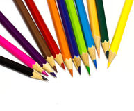 Colour pencils on white background. Close up stock images