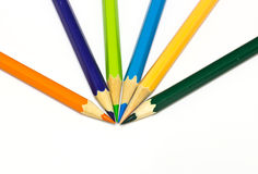 Colour pencils on white background Royalty Free Stock Photography