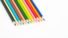 Colour pencils on white background. Close up stock photo