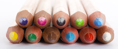 Colour pencils on white background close up Royalty Free Stock Photo