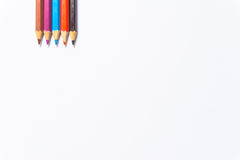 Colour pencils on white background close up.  royalty free stock photos