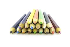 Colour pencils on white background.Close up.Beautiful color pencils.Color pencils for drawing.  stock photo