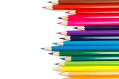 Colour pencils on white background, top view royalty free stock photography