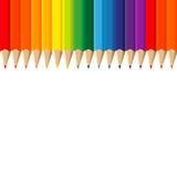 Colour pencils on white background Stock Photos