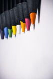 Colour pencils on white background vertical Royalty Free Stock Photos