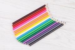 Colour pencils on wooden background. Colour pencils on white wooden background Stock Image