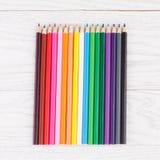 Colour pencils on wooden background. Colour pencils on white wooden background Stock Photography