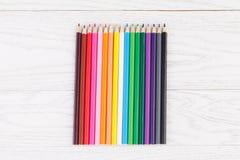 Colour pencils on wooden background. Colour pencils on white wooden background Stock Images