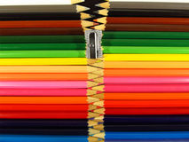Colour pencils in a zip composition. In front Royalty Free Stock Photo