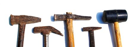 Old rusty hammers Royalty Free Stock Photos