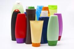 Colour plastic bottles sham Stock Images