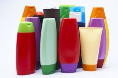 Colour plastic bottles sham Stock Image