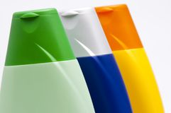 Colour plastic bottles sham Stock Photo