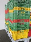 Colour plastic boxes Stock Photo