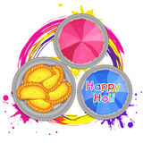 Colour powder with sweets for Holi celebration. Royalty Free Stock Images