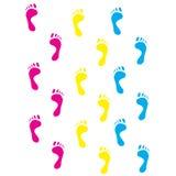 Colour prints of feet.Vector illustration Stock Photos