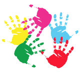 Colour prints of hands.Vector illustration Stock Photography