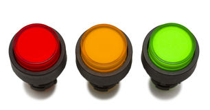 Colour push Button in line. Plastic Red Yellow Green Push Button stock photography