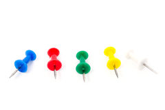 Colour push-pin. Isolated on white Stock Photography