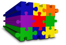 Colour puzzle in perspective Royalty Free Stock Photos