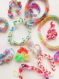 Colour rubber bands. Close view of colourful rubber bands in clear background Royalty Free Stock Photography