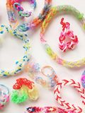 Colour rubber bands. Close view of colourful rubber bands in clear background Stock Photography