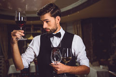 Colour saturation of beverage balanced quite well. Attentive man is staying in room, holding few glasses. He fixedly gazing at goblet with crimson wine Stock Photo