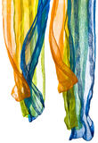 Colour scarfs  isolated on a white Stock Photo