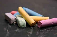 Colour school chalk on a black Stock Photo