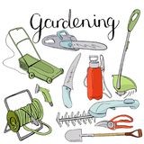 Colour set with different gardening tools. Stock Photo