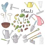 Colour set with different gardening tools. Stock Photos