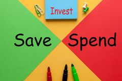 Save Spend Invest. Colour sheets red vs. green with text Save Spend Invest and various stationery. Business concept royalty free stock photography