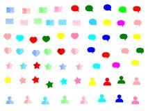 Colour sieci ikony poczta gwiazdy ustalona wektorowa ilustracyjna kierowa wiadomość strzela up pudełkowatego na białym tle ilustracja wektor