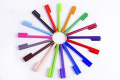 Colour sketch pens. Formed has a circle shap like a wheel Royalty Free Stock Photography