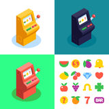 3 colour slot machine and flat slot icons. Stock Photography