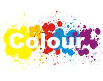 Colour splashes. Splashes in five colours on white background Stock Images