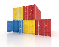 Colour stacked shipping containers on white background. Set of red, blue and yellow metal freight shipping containers on white background - photorealistic 3d Stock Photos