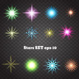 Colour stars with glitters and sparkles. Effect twinkle, design. Glare, scintillation element sign, graphic light,  illustration eps 10 Royalty Free Stock Image