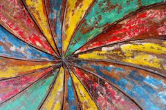 Colour streamed shape. On wooden table Stock Photo